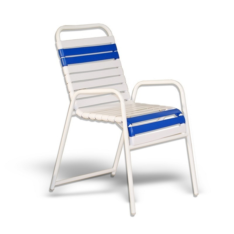 Strap Patio Stackable High Balcony Arm Chair White : Dining Chairs
