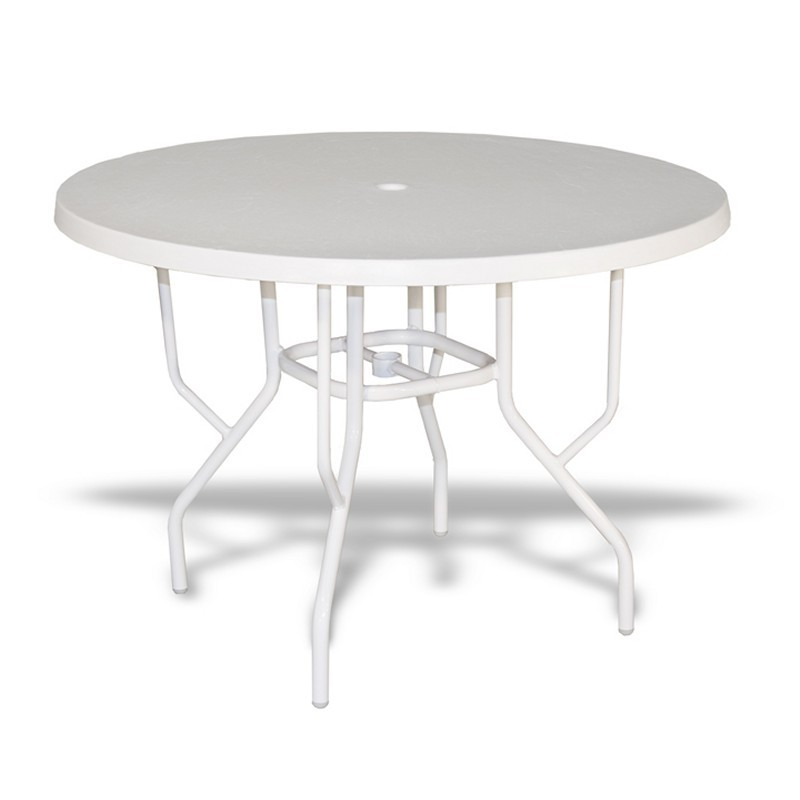 Strap round patio dining table with fiberglass top white 42 for White patio table