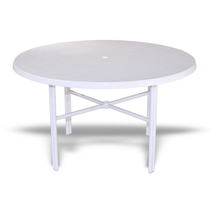 Strap round patio dining table with fiberglass top white 48 for White patio table