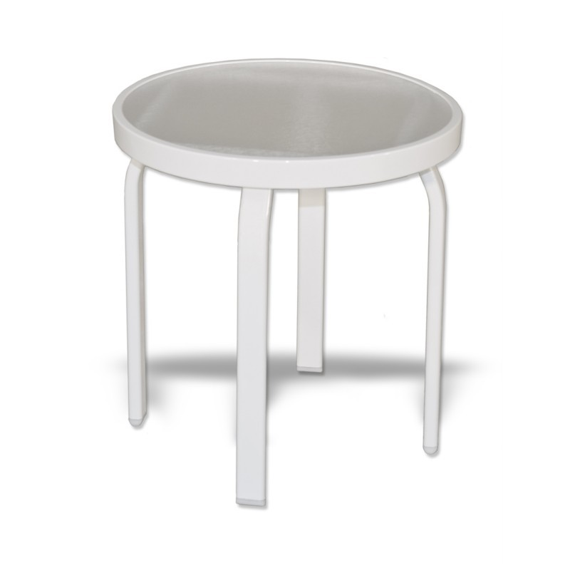 Strap Round Patio Side Table With Acrylic Top Flat Tube White