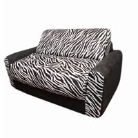 Fun Furnishings Black Zebra Sofa Sleeper With Pillows FF-11209