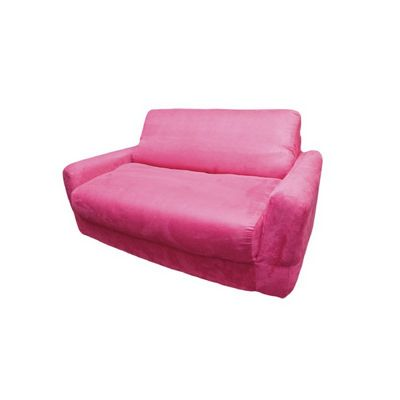 Fun Furnishings Fuchsia Micro Suede Sofa Sleeper With Pillows FF-11204