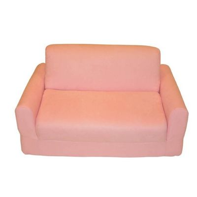Fun Furnishings Pink Micro Suede Sofa Sleeper With Pillows FF-11230