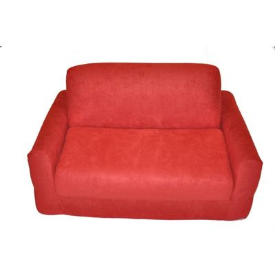 Fun Furnishings Red Micro Suede Sofa Sleeper With Pillows FF-11232