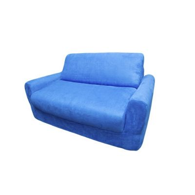 Fun Furnishings Royal Blue Micro Suede Sofa Sleeper With Pillows FF-11207