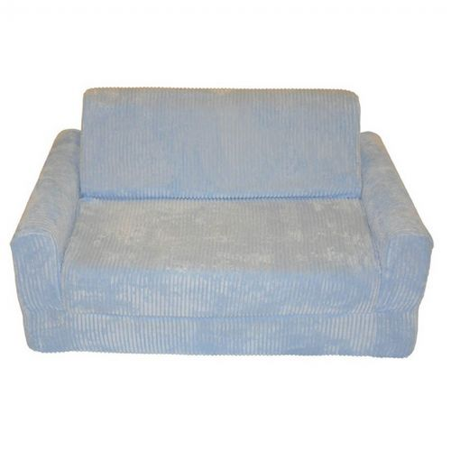 Fun Furnishings Blue Chenille Sofa Sleeper With Pillows FF-11310
