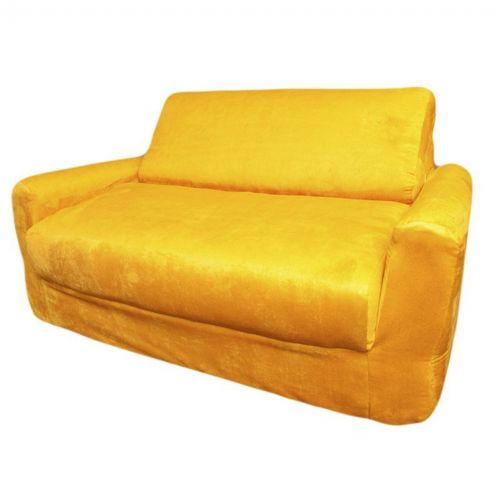 Fun Furnishings Canary Yellow Micro Suede Sofa Sleeper With Pillows Ff 11203