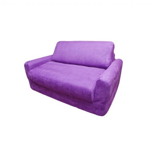 Fun Furnishings Purple Micro Suede Sofa Sleeper With Pillows FF-11206