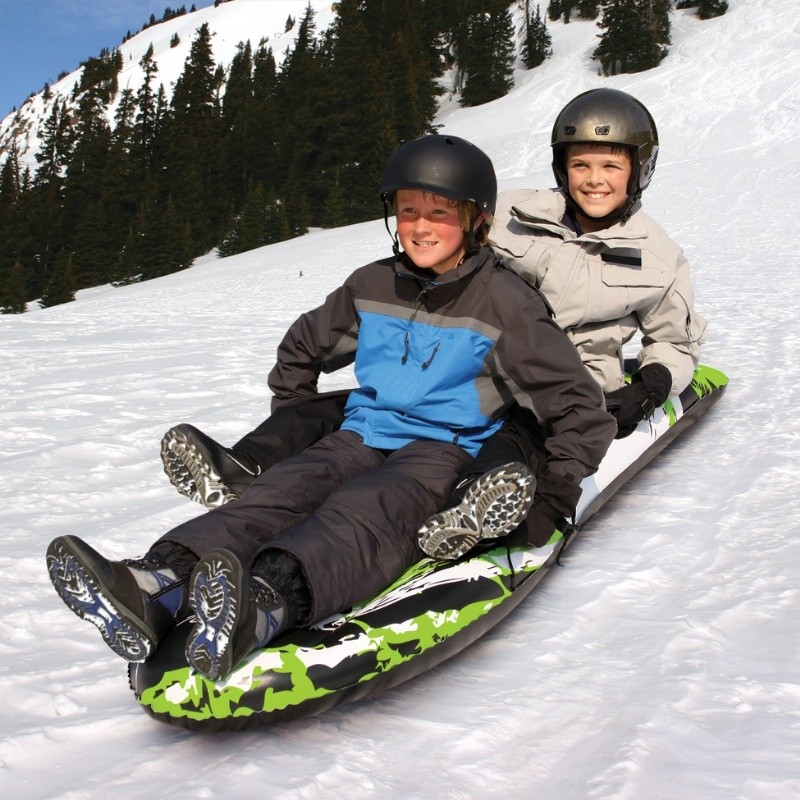 Kids Snow Tubes: Toboggan Double Rider Inflatable Snow Tube