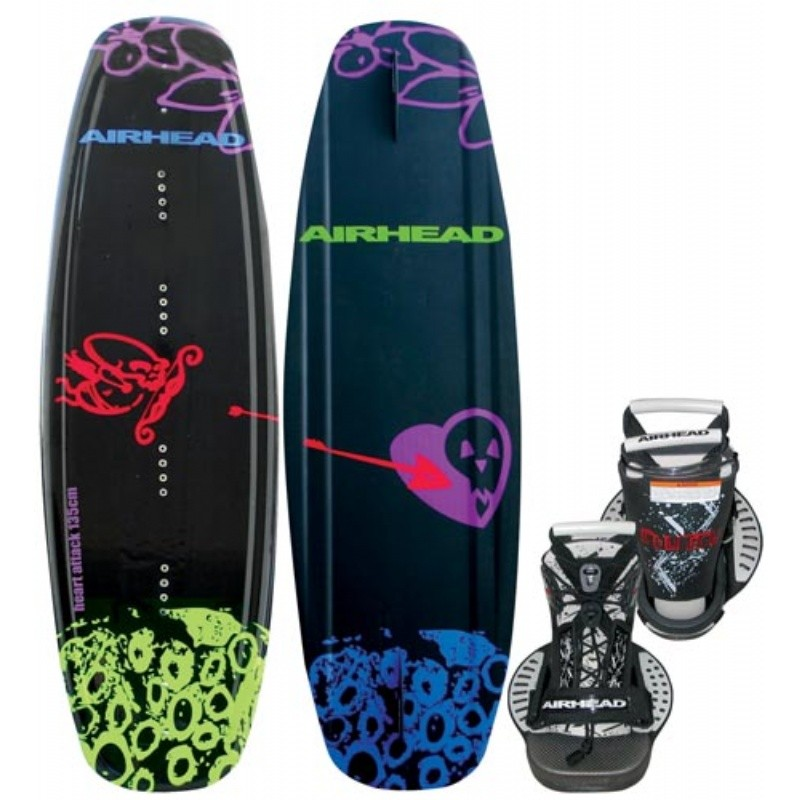 Wakeboard & Binding Sets: Airhead Heart Attack Wakeboard with Clutch Binding