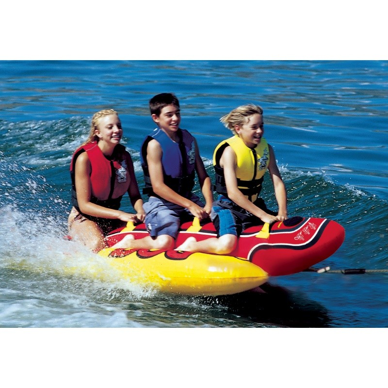 3 Person Pool Float: Hot Dog Triple Rider Towable Tube