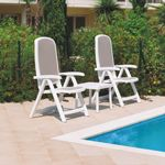 Delta Adjustable Folding Sling Chair Set 3 Piece - White Sand NR-DELTASET