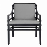 Aria Relax Chair in Anthracite With Cushions in Grey NR-40330