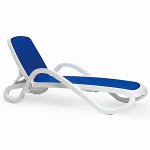 Adjustable Alpha Sling Chaise Lounge with Arms - White Blue NR-40416