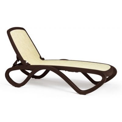 Outdoor Furniture: Resin: Adjustable Stacking Sling Chaise Lounge Brown Beige