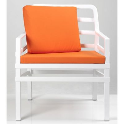 Aria Relax Chair in White With Cushions in Orange NR-40330