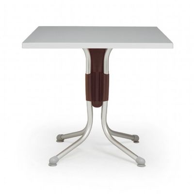 Polo Square Werzalit Top Folding Table Silver-Brown 31 inch NR-50850.05.197