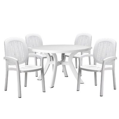 Ponza resin outdoor dining set 5 piece white nr ponzaset5 cozydays ponza resin outdoor dining set 5 piece white watchthetrailerfo