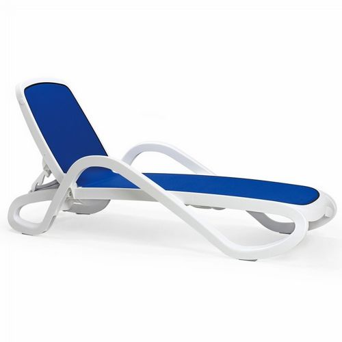 Adjustable Alpha Sling Chaise Lounge with Arms - White Blue NR-40416-00-112