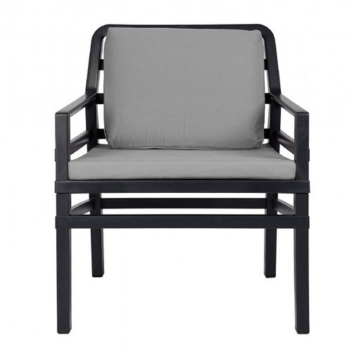 Aria Relax Chair in Anthracite With Cushions in Grey NR-40330-02