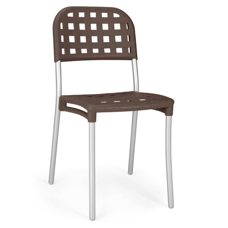Outdoor Furniture: Resin: Aurora Outdoor Arm Chair with Espresso Seat