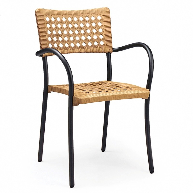 Outdoor Furniture: Resin: Artica Outdoor Arm Chair with Straw Seat
