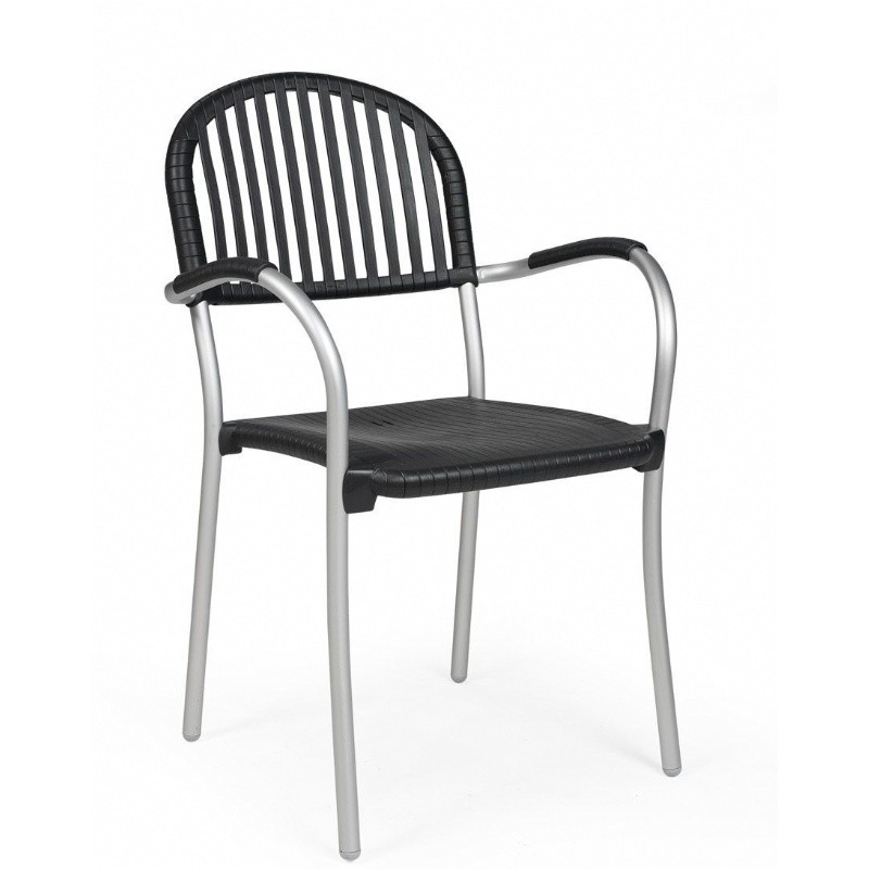 Brezza Outdoor Arm Chair with Antracite Seat and Aluminum Legs : Dining Chairs