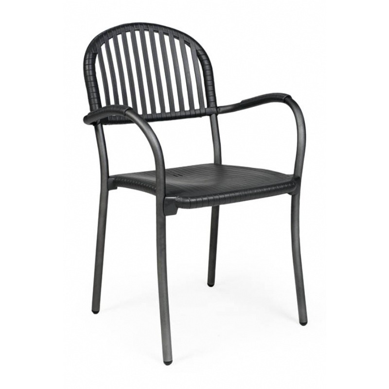 Outdoor Furniture: Resin: Brezza Outdoor Arm Chair with Antracite Seat and Antracite Legs