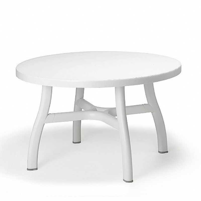 Outdoor Furniture: White Patio Furniture: Colosseo Round Dining Table 47 inch
