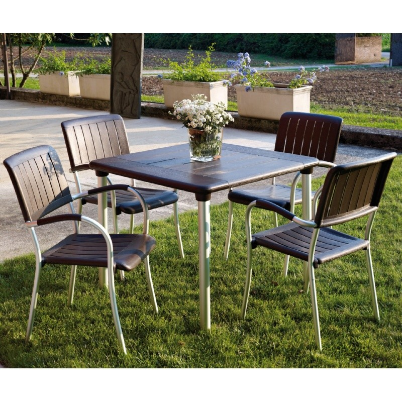 Musa Square Outdoor Dining Set 5 Piece Espresso