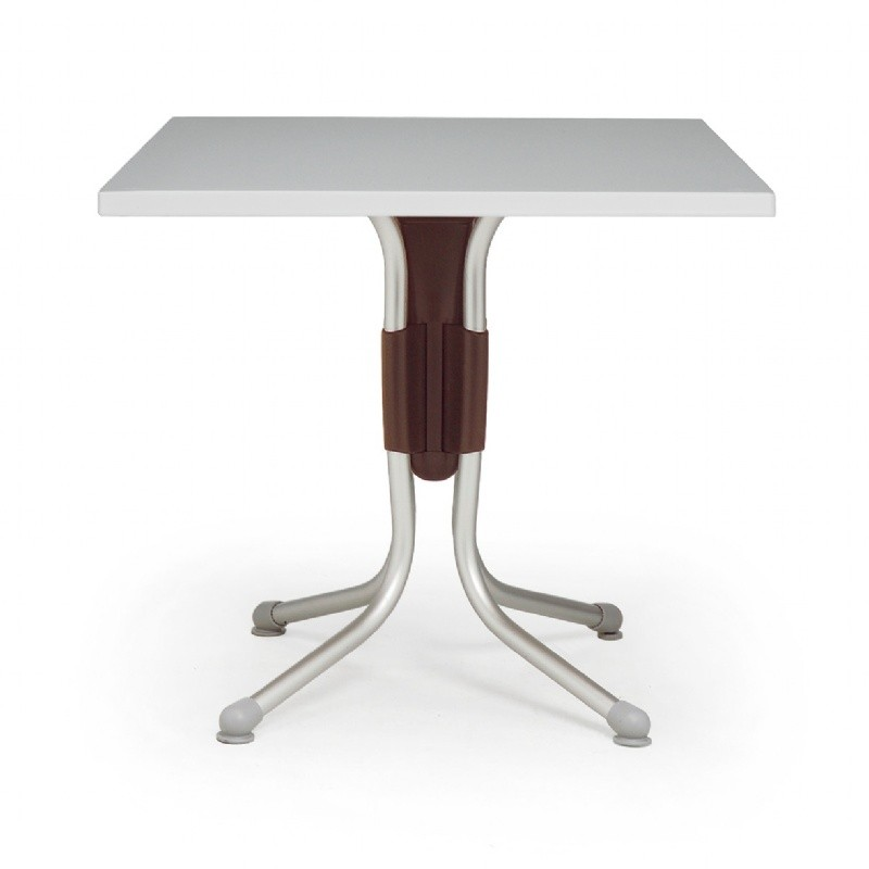 Polo Square Werzalit Top Folding Table Silver-Brown 31 inch