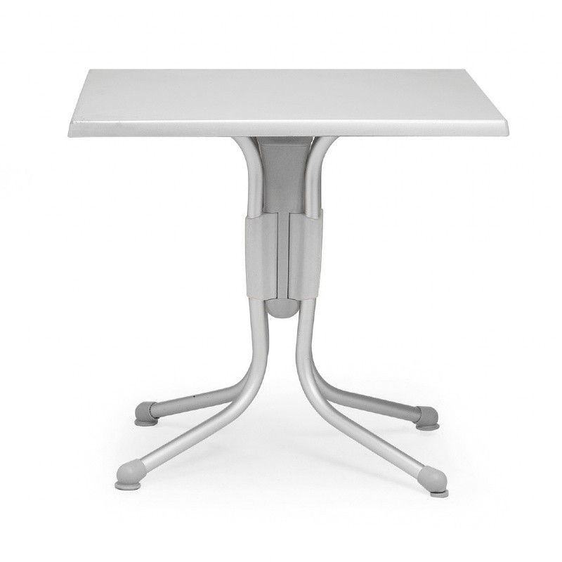 Polo Square Werzalit Top Folding Table Silver-Silver 31 inch