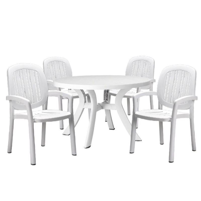 Ponza Resin Dining Set with Round Table 5 Piece White