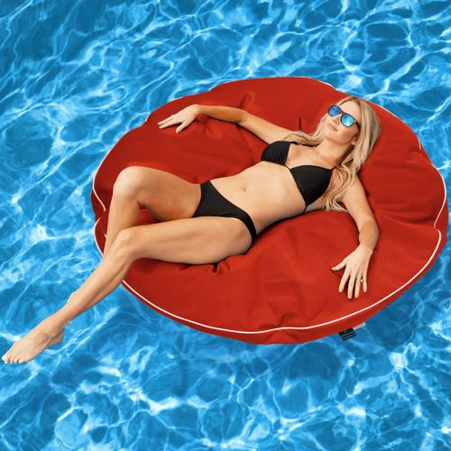 Kai Round Lounge Canvas Pool Float - Logo Red FL330-66