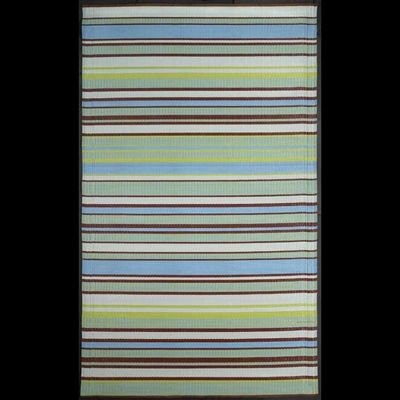 Outdoor Carpet Mat 5' x 8' Stripes Aqua Gray MMSTP58GA