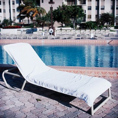 Resort chaise cover white towel t lc3090w cozydays for Chaise lounge beach towels