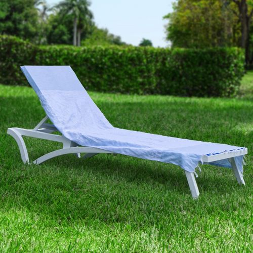 Hoody Beach Soft Cotton Chaise Cover Blue Stripes HFG001-BLS