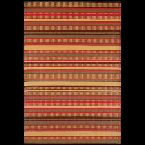 Outdoor Carpet Mat 4' × 6' Stripes Warm Brown MMSTP46WB