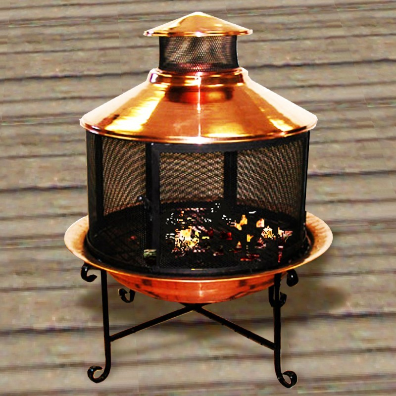 Copper Chiminea Firepit With Grill Set U91007