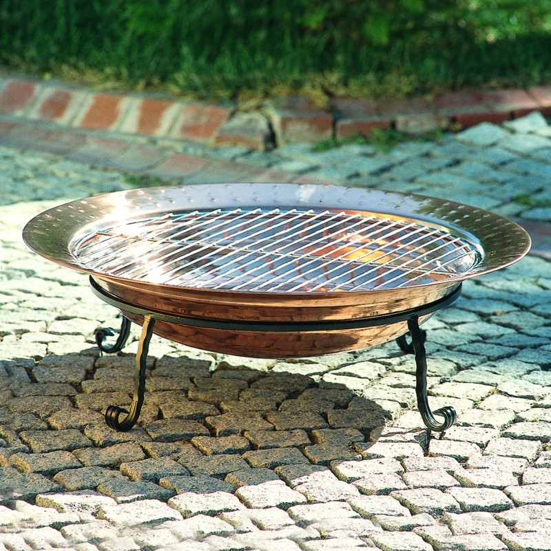 Fire Pit on Wheels: Copper Outdoor Fire Pit 24 inch Diameter