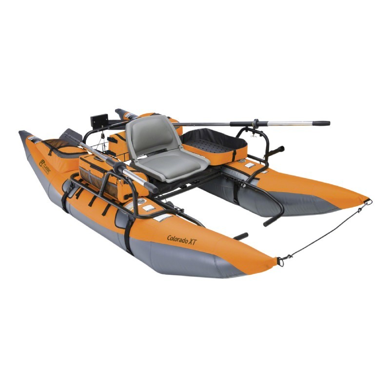 Colorado xt inflatable pontoon fishing boat pumpkin gray for Inflatable pontoon boat fishing