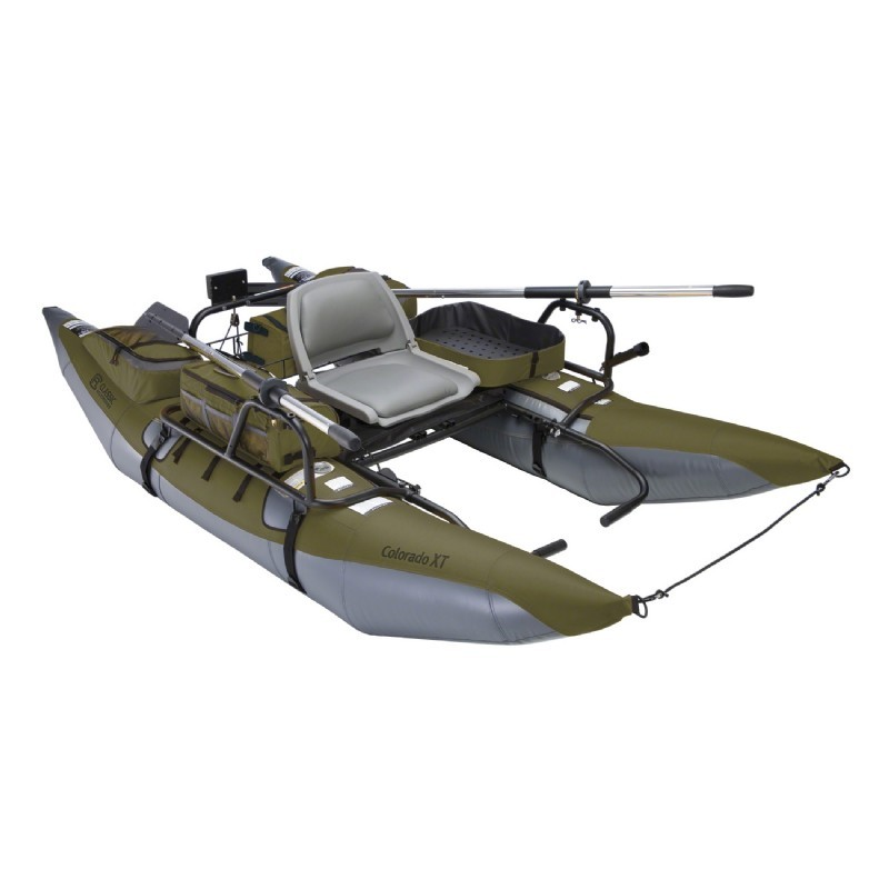 Colorado xt inflatable pontoon fishing boat sage gray for Inflatable pontoon boat fishing