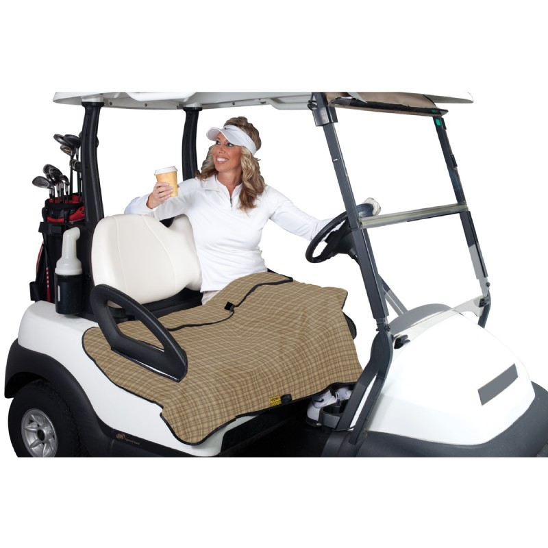 Golf Cart Seat Blanket Plaid with Gray Fleece