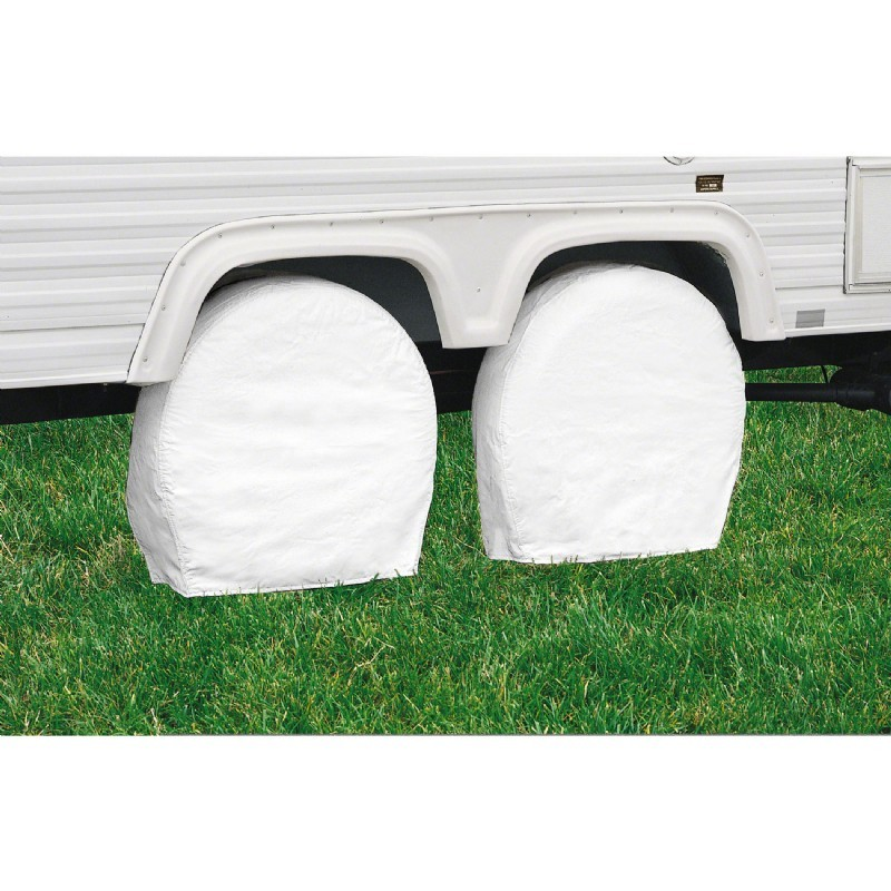 RV Wheel Covers White Medium
