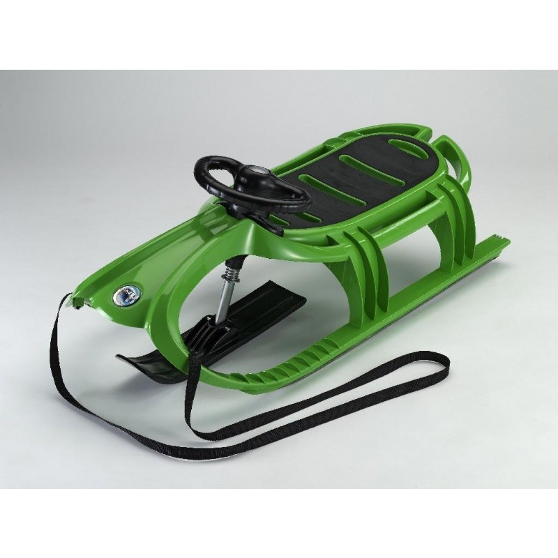 Snow Tiger Deluxe Plastic Snow Sled Green