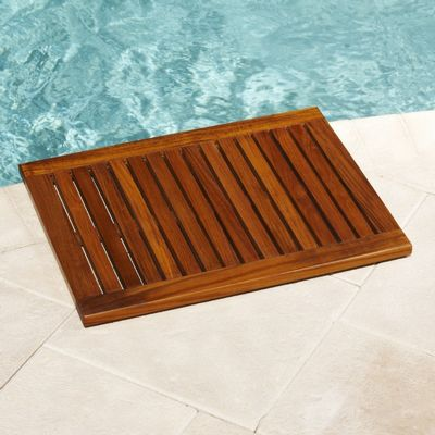 Lespa teak oiled framed floor mat 23 x 17 inf1019 cozydays for Garden pool mats