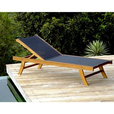 Teak outdoor chaise lounge with black mesh sling inf1750 for Black mesh chaise lounge