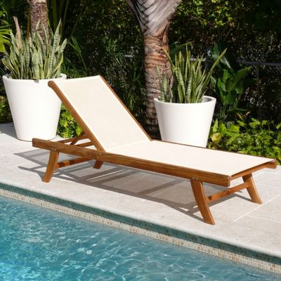 Teak Outdoor Chaise Lounge With Ivory Mesh Sling Inf1774