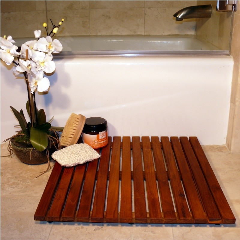 Pool and Spa Accessories: Teak Oiled Shower Floor Mat 20 × 20