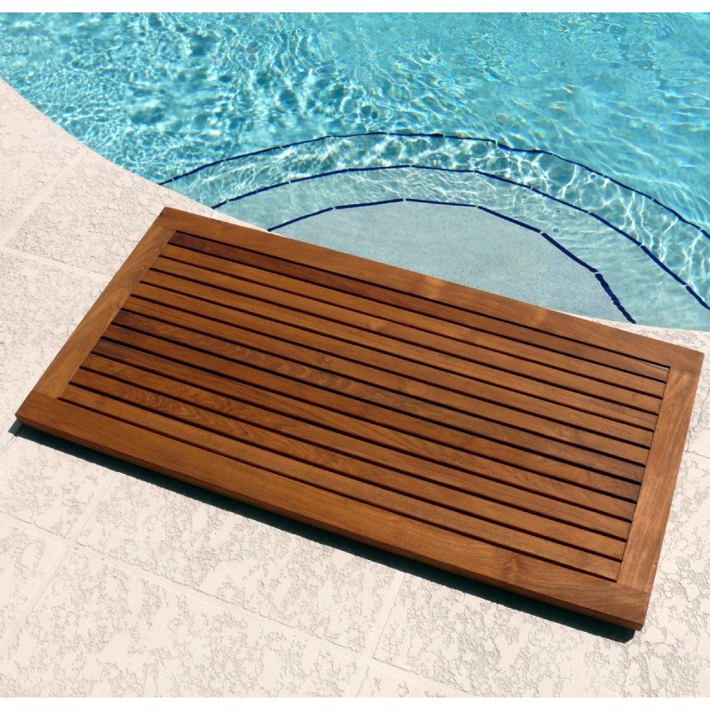 Pool and Spa Accessories: Teak Oiled Framed Pool Floor Mat 39 × 20